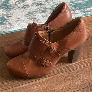 Clark's Brown Leather Heeled Pirate Buckle Bootie